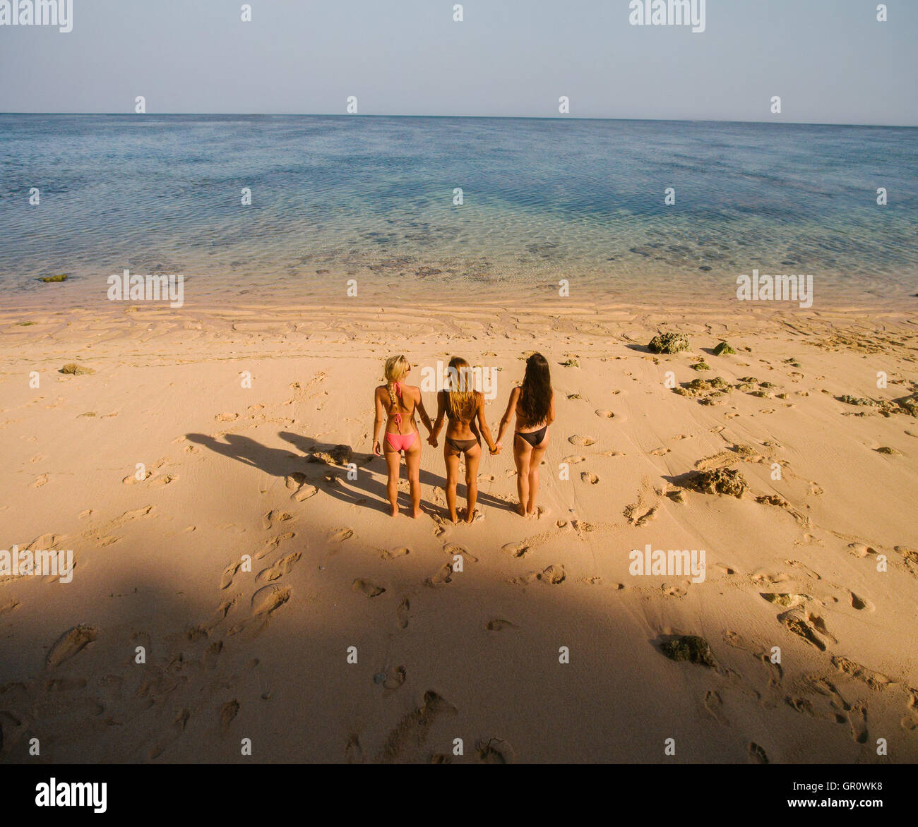 Aerial view of three young female friends standing on the beach holding hands and looking at the sea. Rear view - Stock Image