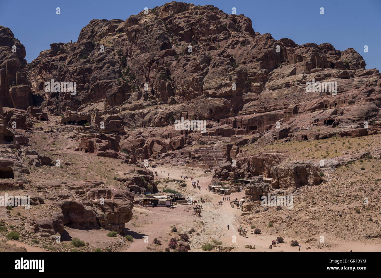 View to Jebel Madbah, Street of Facades and Theatre from side of the Cardo Maximus Petra. Jordan Stock Photo