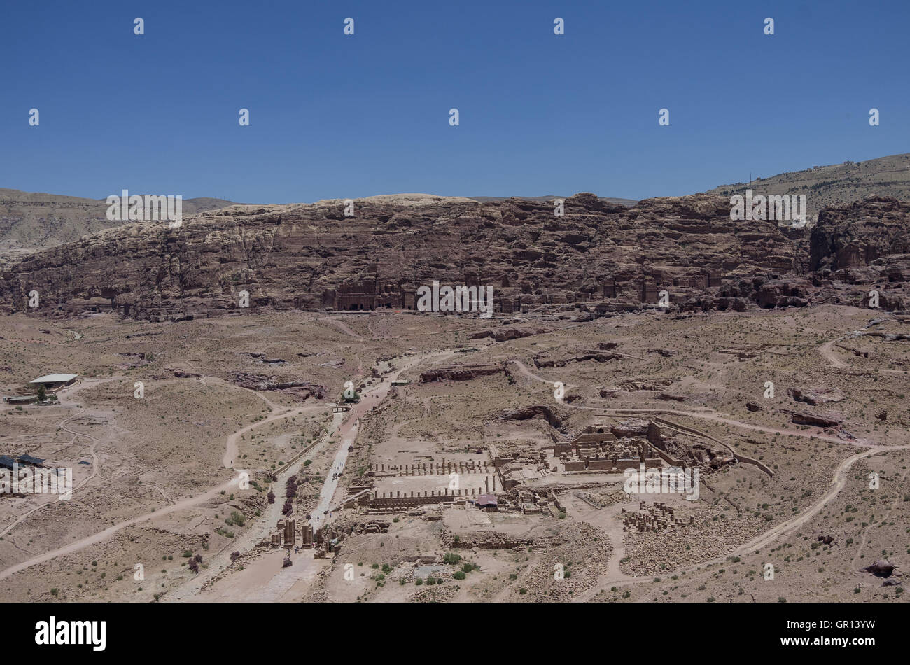 View to Royal Tombs, Cardo Maximus and Great Temple from Al Habis mountain. Panorama of Petra ancient city. Jordan Stock Photo