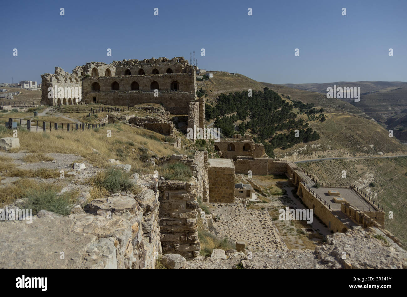 Ruins of the Kerak Castle, a large crusader castle in Kerak (Al Karak) in Jordan Stock Photo