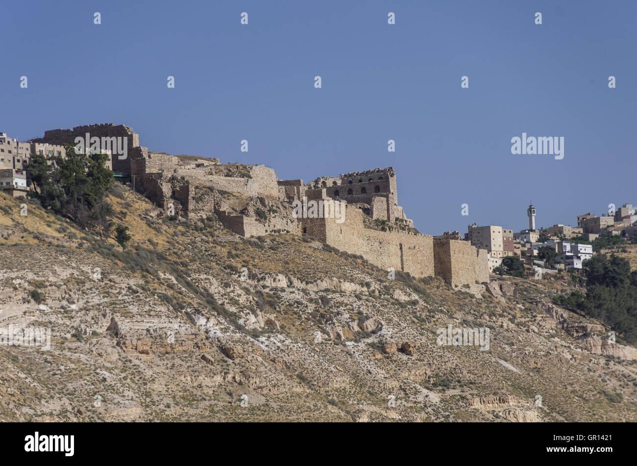 View to the crusader castle Kerak (Al karak) in Jordan Stock Photo
