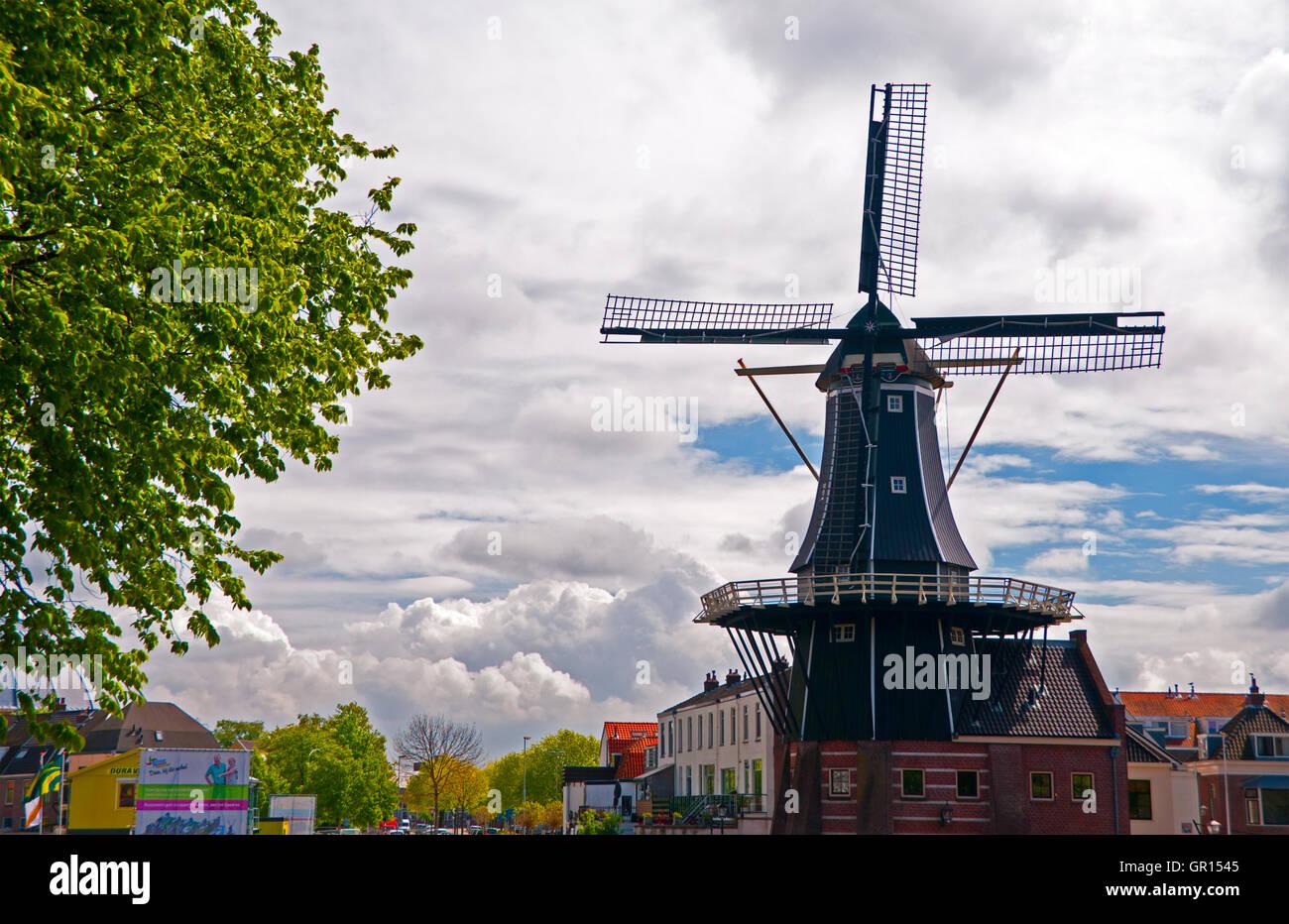 de Adriaan Windmill in Haarlem, Holland, the Netherlands - Stock Image