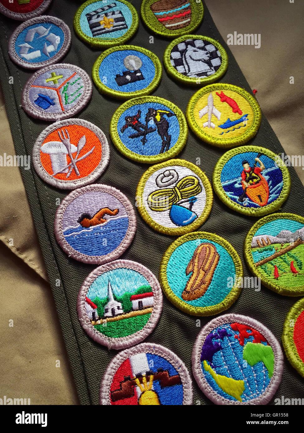 Merit Badge Sash, Boy Scouts of America, USA - Stock Image