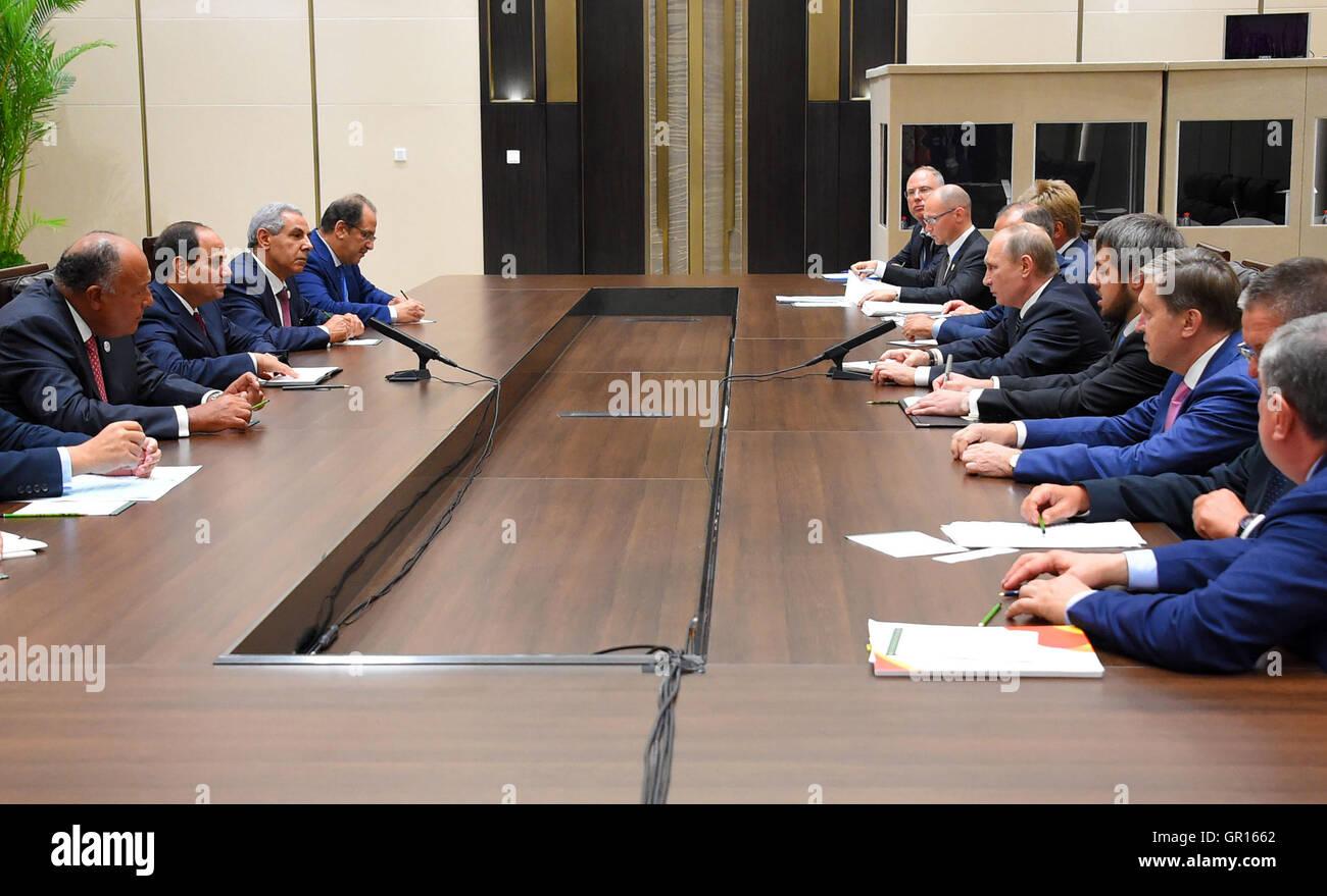 September 5, 2016 - Hangzhou, Hangzhou, China - Egypt's President Abdel Fattah al-Sisi meets with Russian President - Stock Image