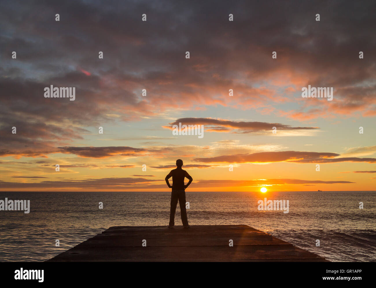 Seaton Carew, north east England, UK, 6th, September, 2016. Weather: A hiker on The England Coast Path at Seaton Stock Photo