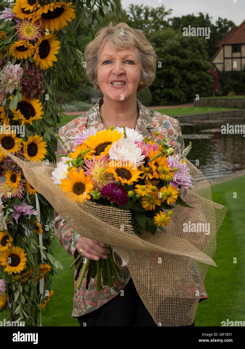 British TV and stage actress Penelope Keith opens the RHS Wisley Flower Show at RHS Garden Wisley, Surrey, UK, September - Stock Image