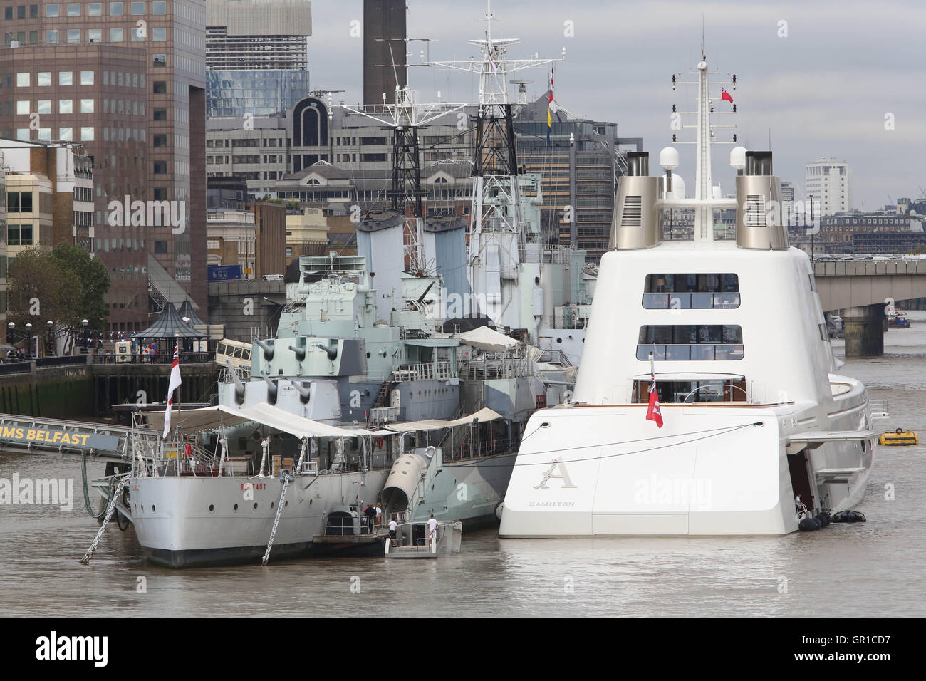 London, UK. 6th September, 2016.   Super Yacht A- owned by Russian tycoon Andrey Melnichenko, moored on The River - Stock Image