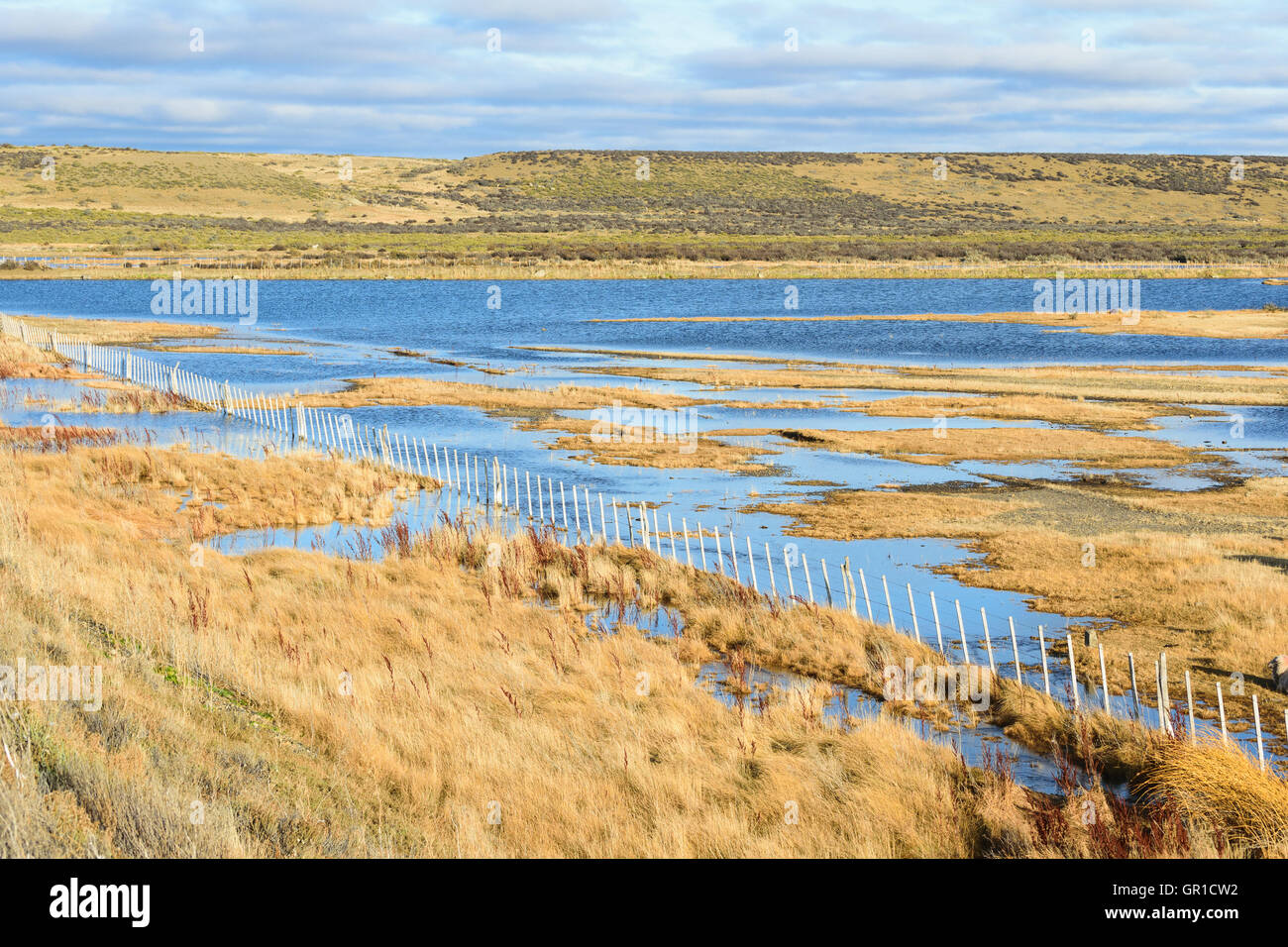 Lake and farm in the Patagoia - Stock Image
