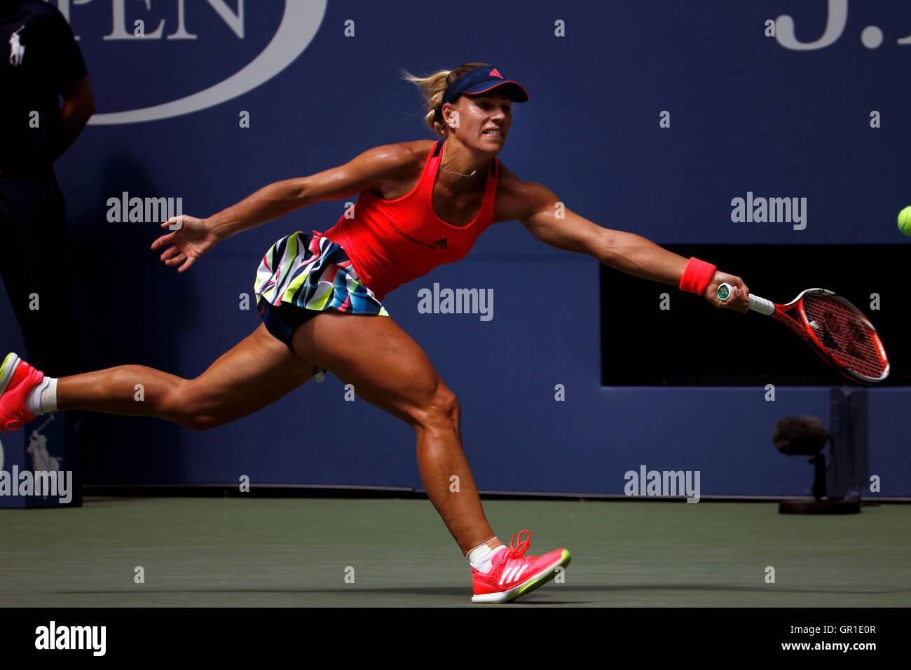 New York, USA. 6th September, 2016. Number 2 seed, Angelique Kerber of Germany during her quarter final match against - Stock Image