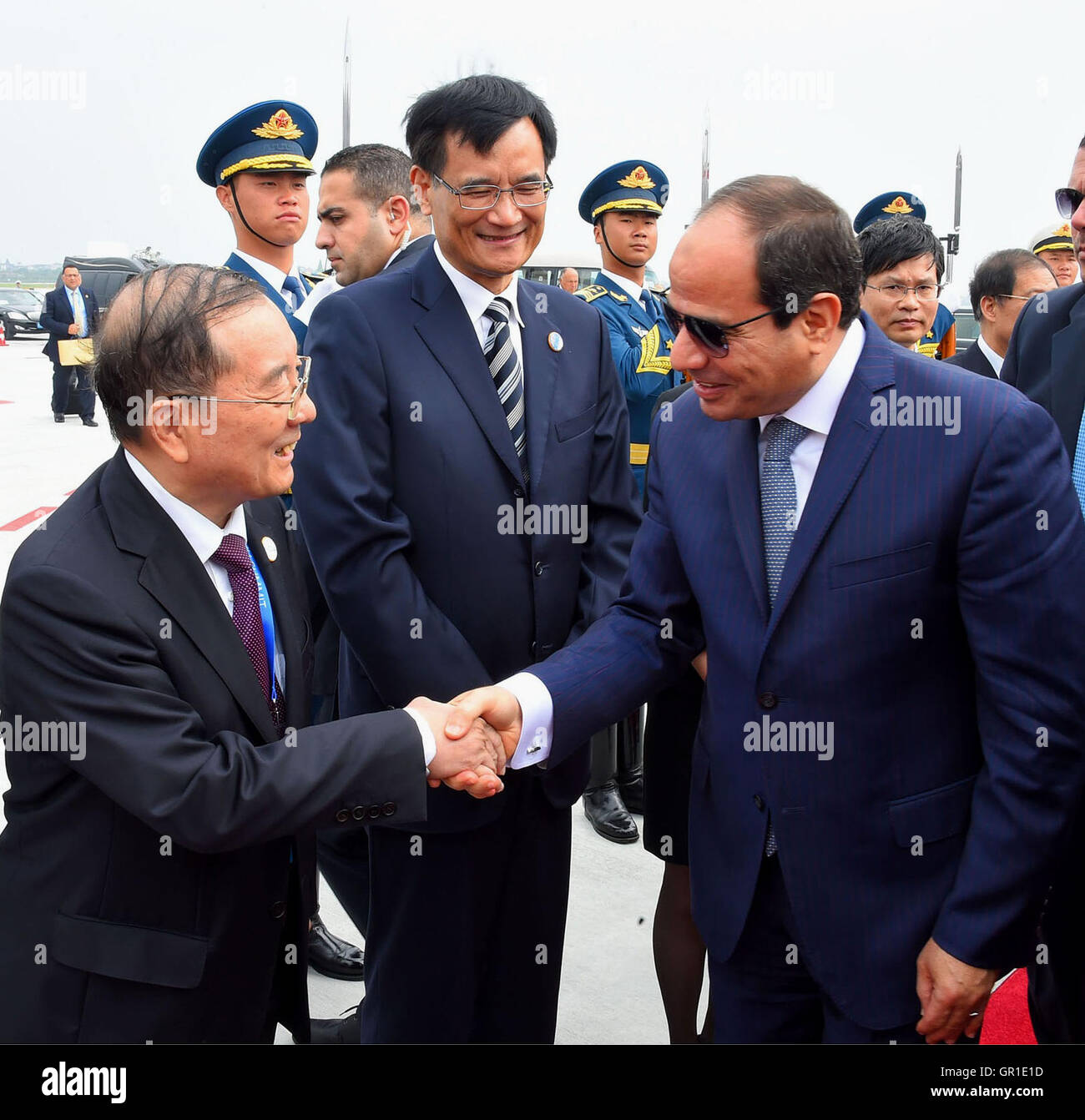 Hangzhou, Hangzhou, China. 6th Sep, 2016. Egyptian President Abdel Fattah al-Sisi leaves after he attends the G20 - Stock Image