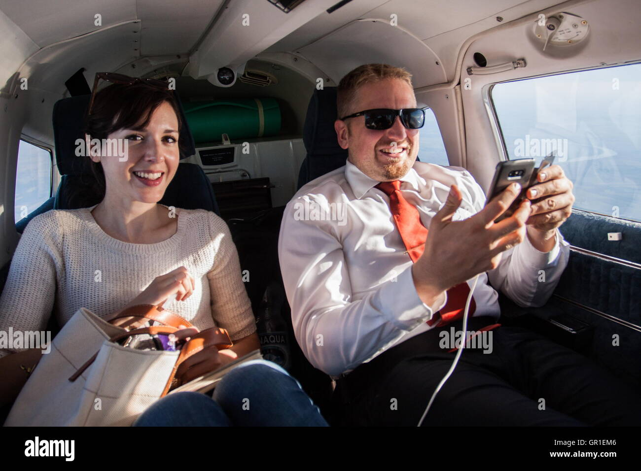 Aug 29, 2016 - Liberland - Journalist Morgan Childs and president of Liberland VIT JEDLICKA in a private plane. - Stock Image