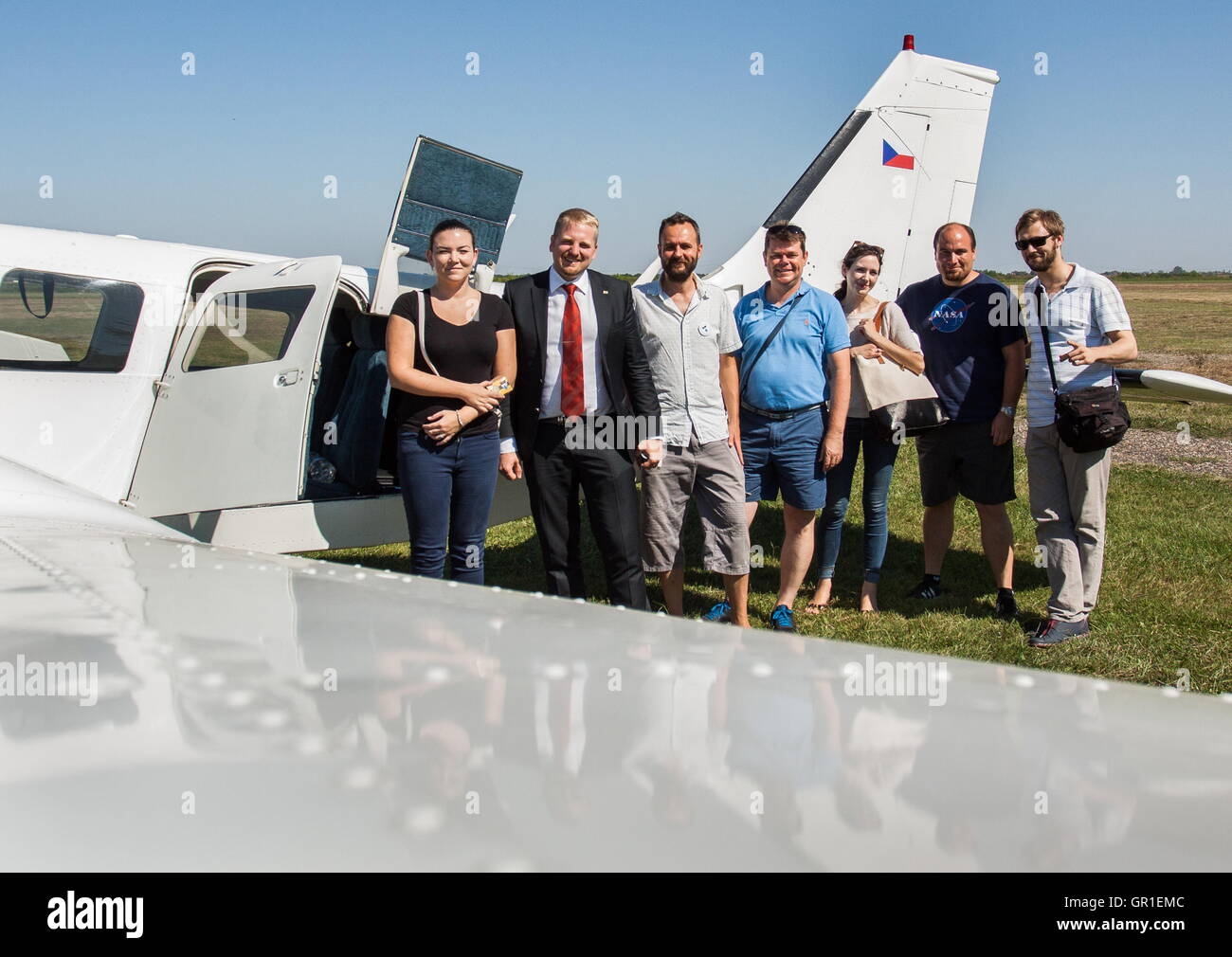 Aug 29, 2016 - Liberland - The crew that came back from Serbia to Czech Republic. President of Liberland VIT JEDLICKA - Stock Image