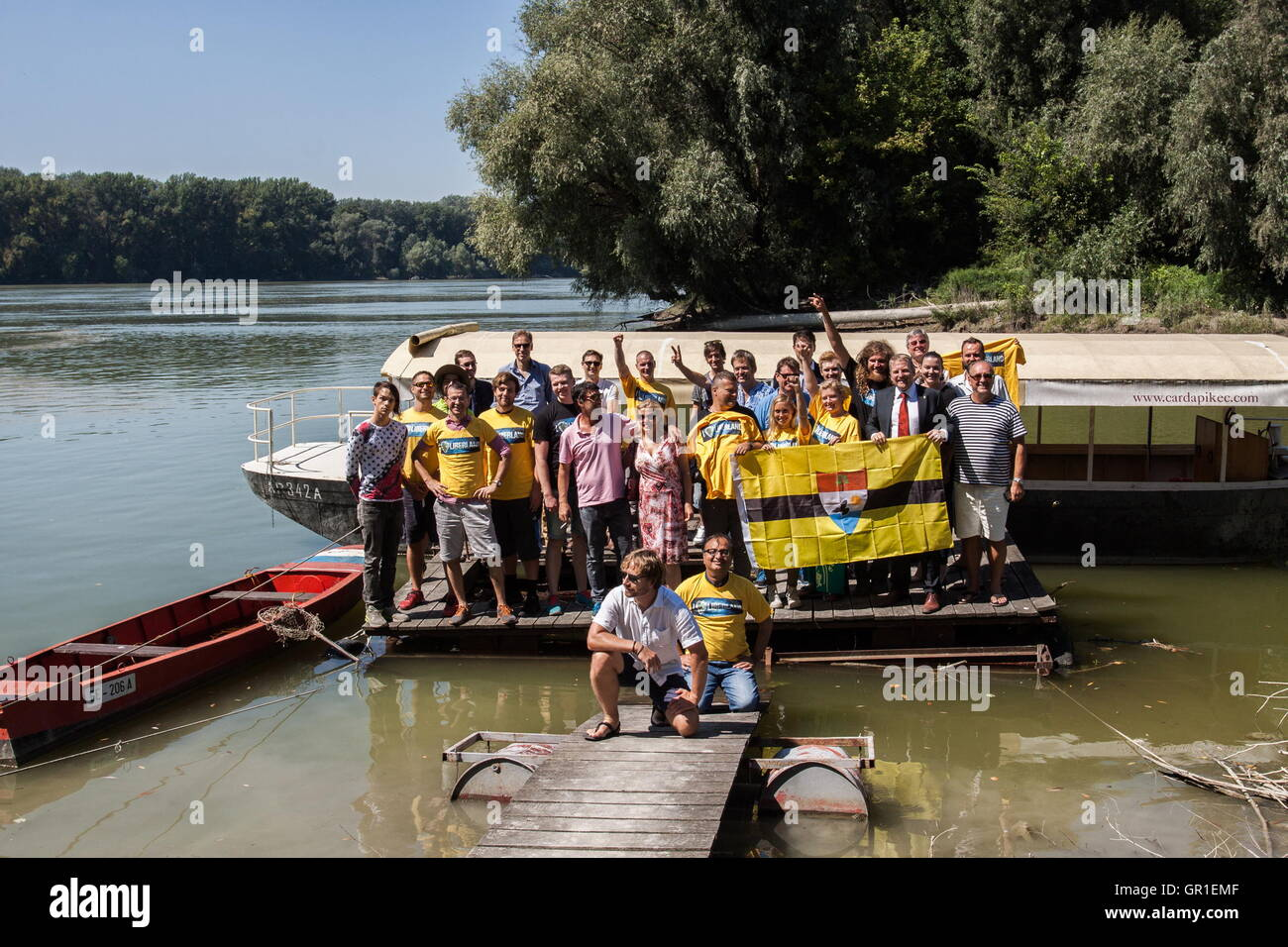 Aug 29, 2016 - Liberland - Liberland team on the way to Liberland. The Free Republic of Liberland, is a self-proclaimed - Stock Image