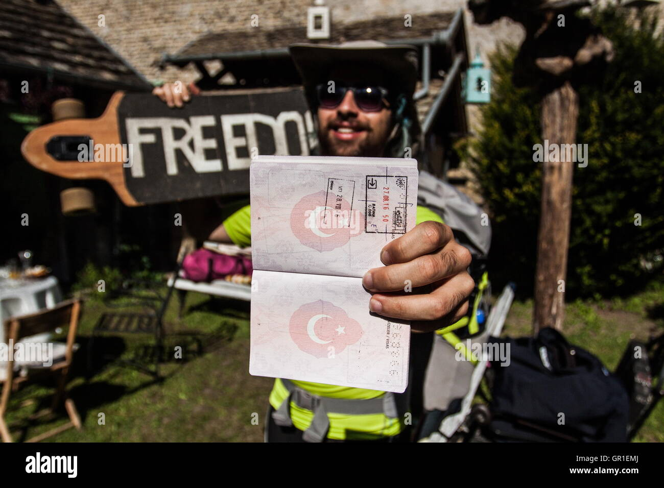 Aug 29, 2016 - Liberland - Man from Turkey who came to Serbia from Amsterdam by a longboard only. He get denied - Stock Image