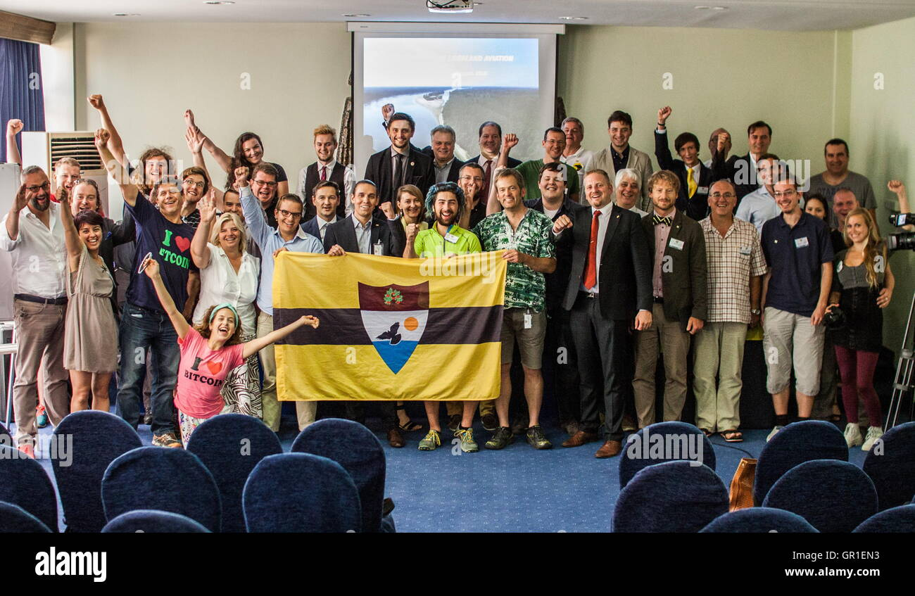 Aug 29, 2016 - Novi Sad, Serbia - Liberland members, participans and fans at the conference for the Liberland matters - Stock Image
