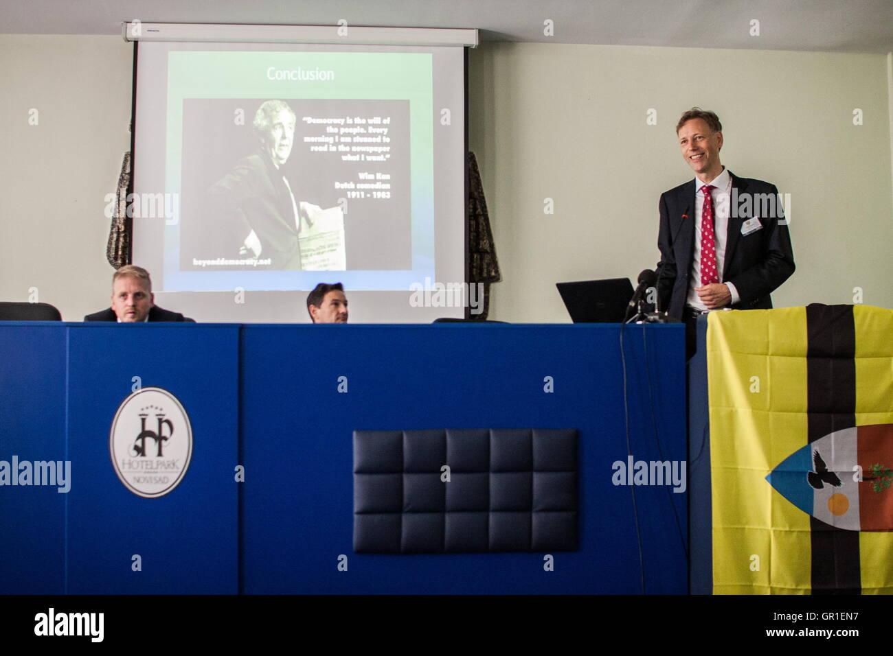 Aug 29, 2016 - Novi Sad, Serbia - Conference for the Liberland matters in Novi Sad on August 27th. The Free Republic - Stock Image
