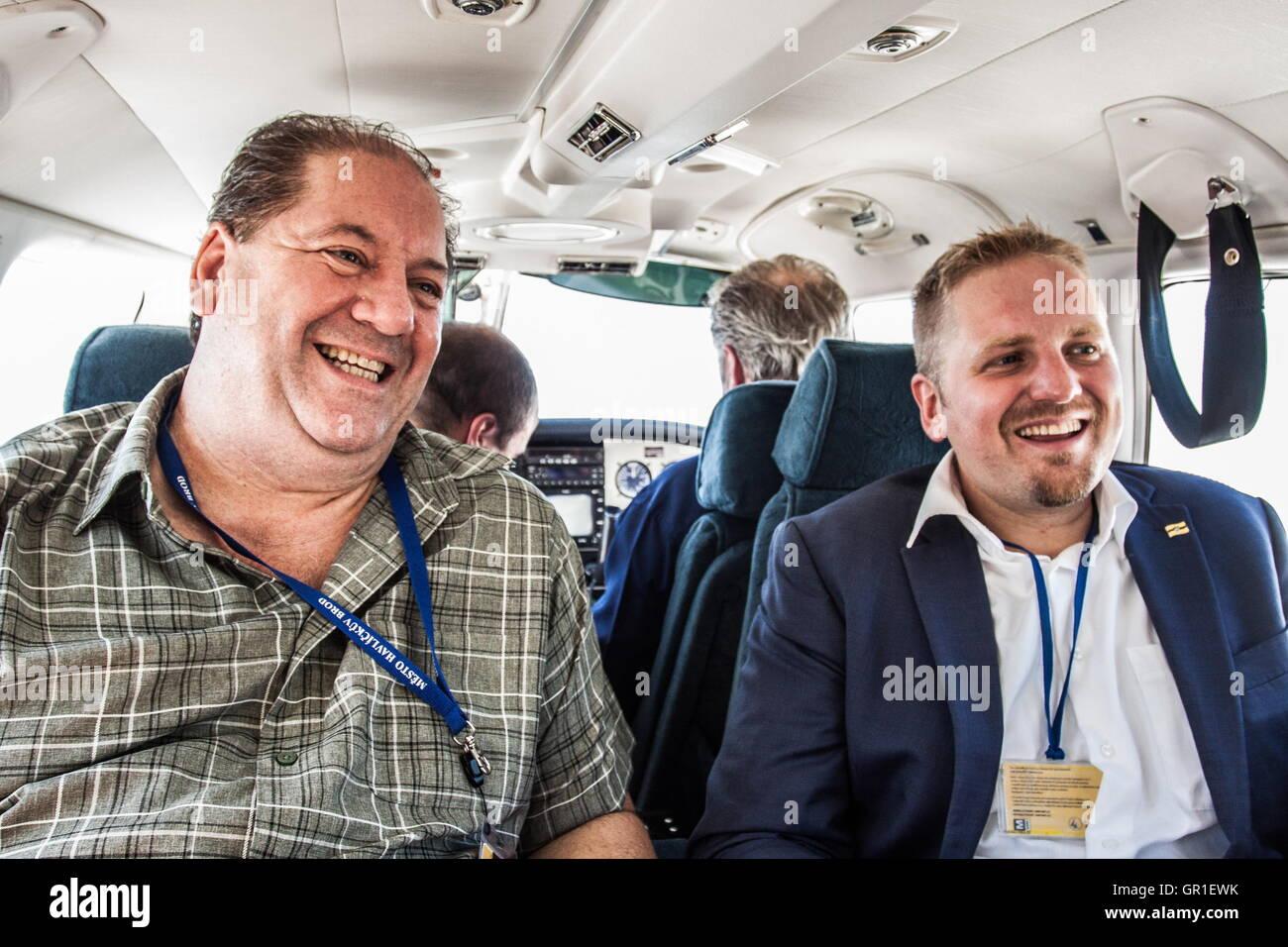 Aug 28, 2016 - Novi Sad, Serbia - Chris Principe (global banking principal on the left) and VIT JEDLICKA (president Stock Photo
