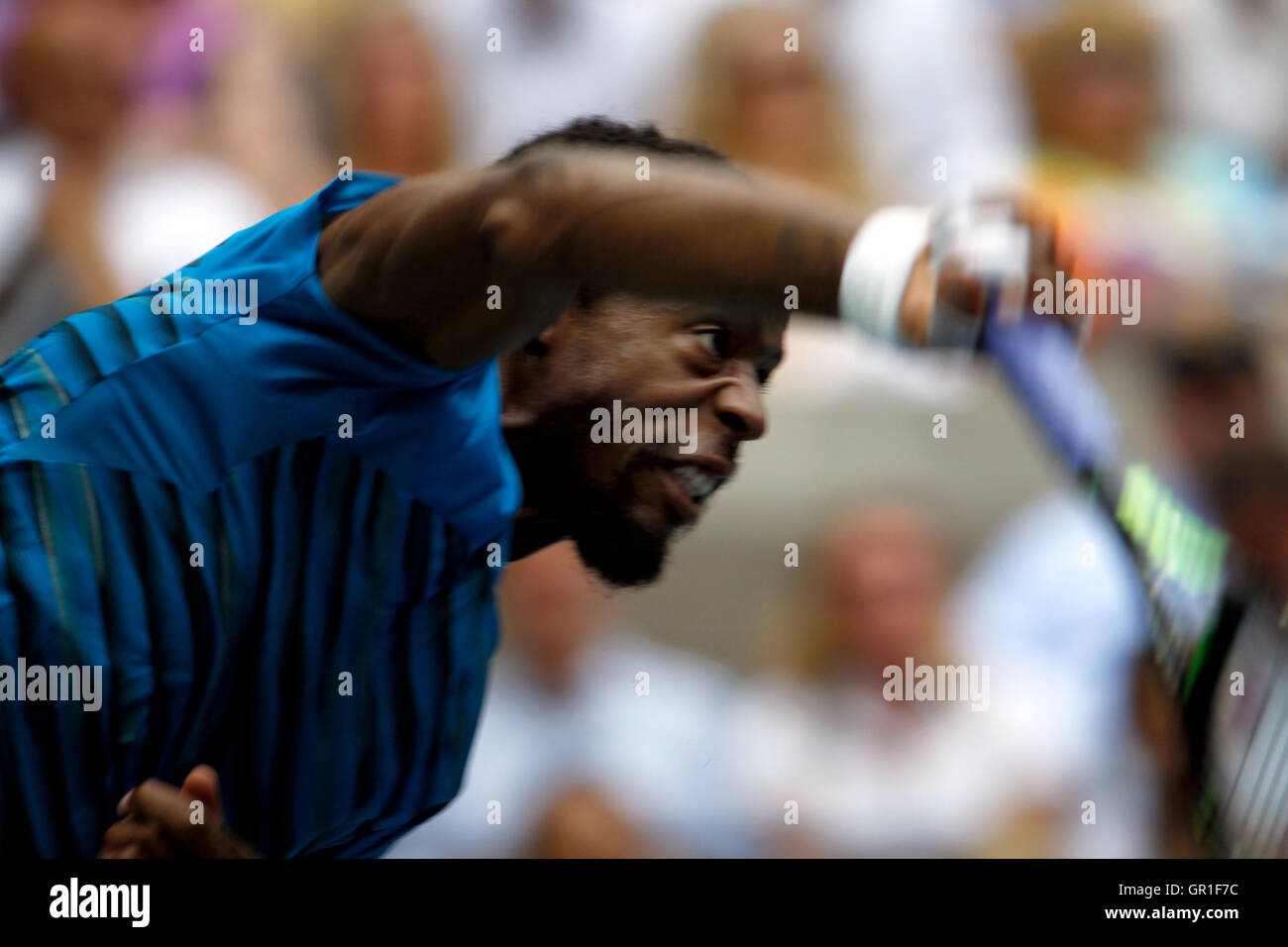 New York, USA. 6th September, 2016. Gael Monfils of France during his quarterfinal match against countryman Lucas - Stock Image