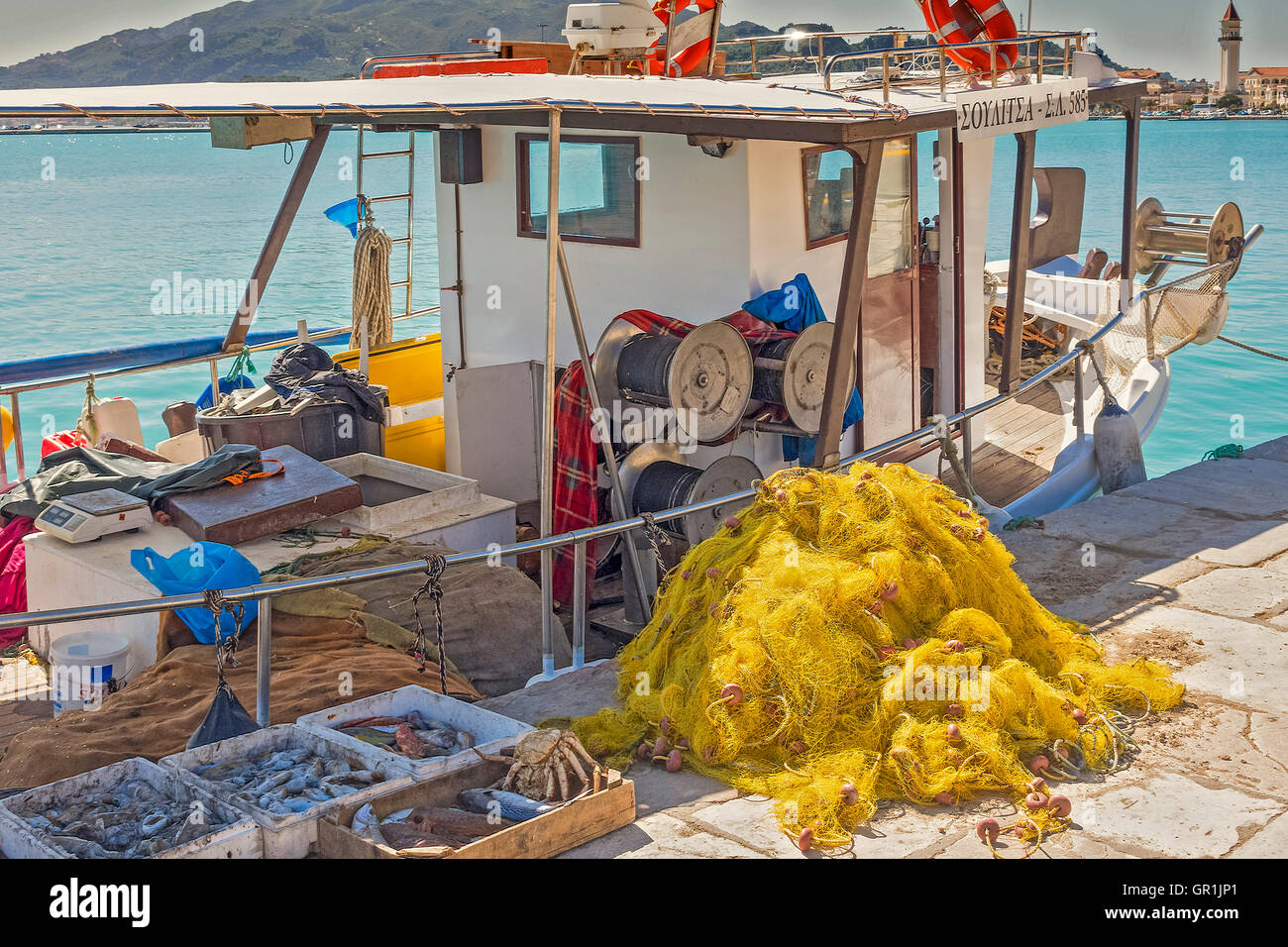 Fishing Boat In The harbour, Zakinthos, Greece Stock Photo
