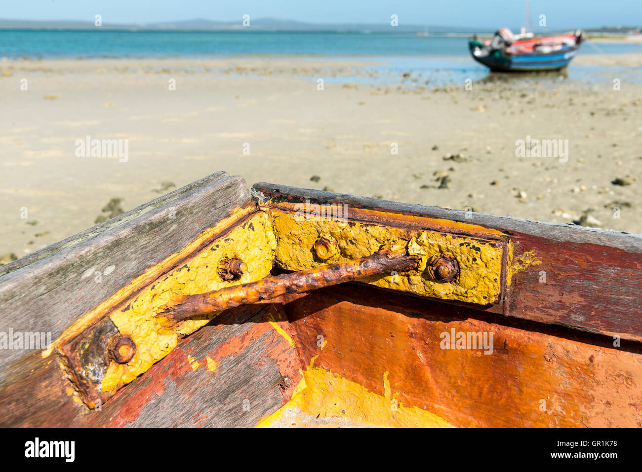 Closeup of corroded metal enforcement in a fishing boat, Churchhaven, West Coast National Park, South Africa Stock Photo