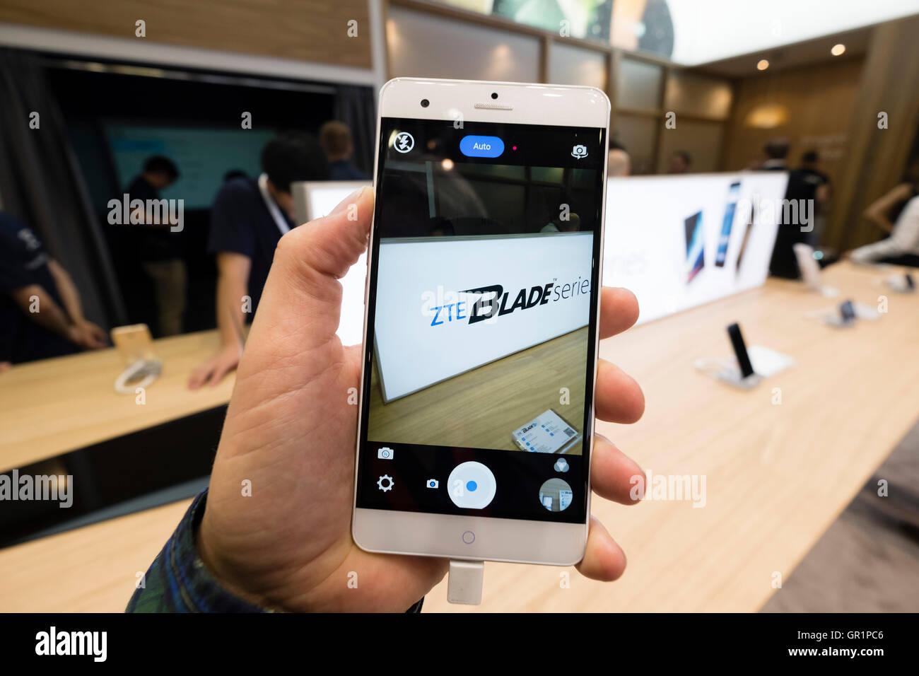 ZTE Blade smart phone on display at 2016  IFA (Internationale Funkausstellung Berlin), Berlin, Germany - Stock Image
