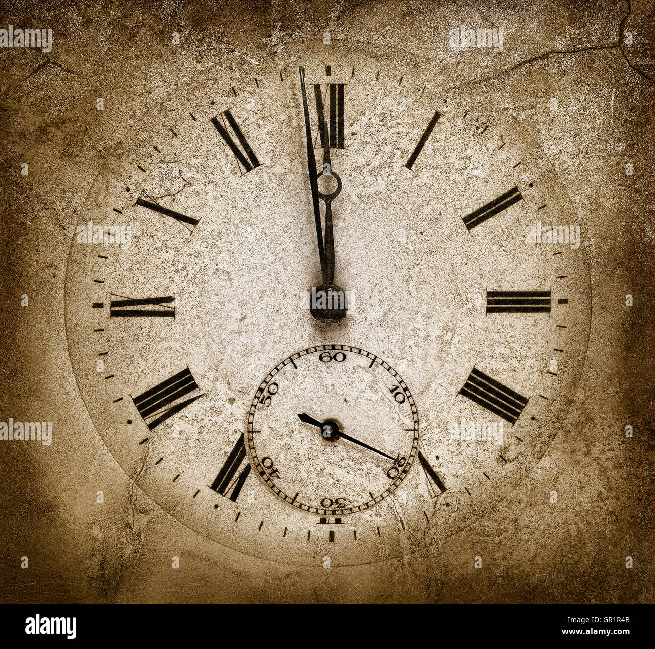 Stone clock.One minute to midnight. Cracked texture - Stock Image