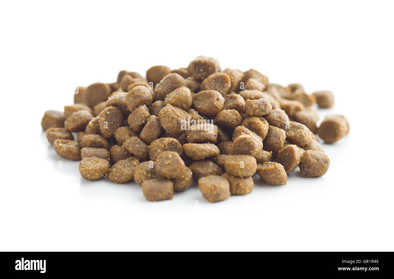 Dried food for animals isolated on white background. - Stock Image