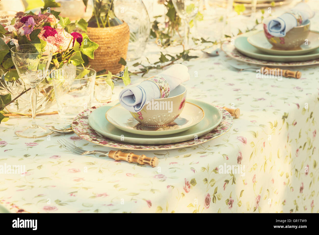 Image of table setting for wedding or garden party. - Stock Image