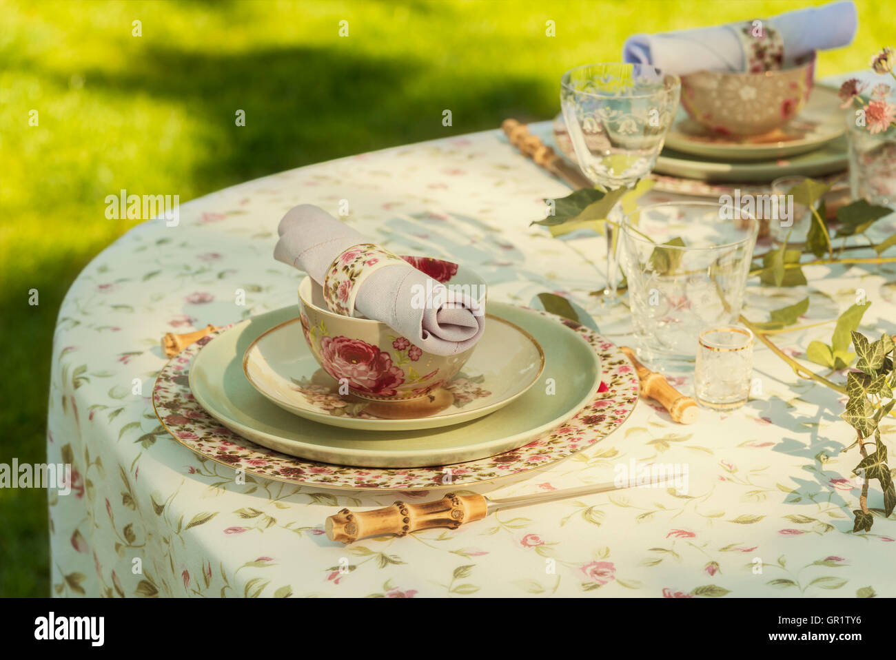 Image of table setting for garden party or wedding. - Stock Image