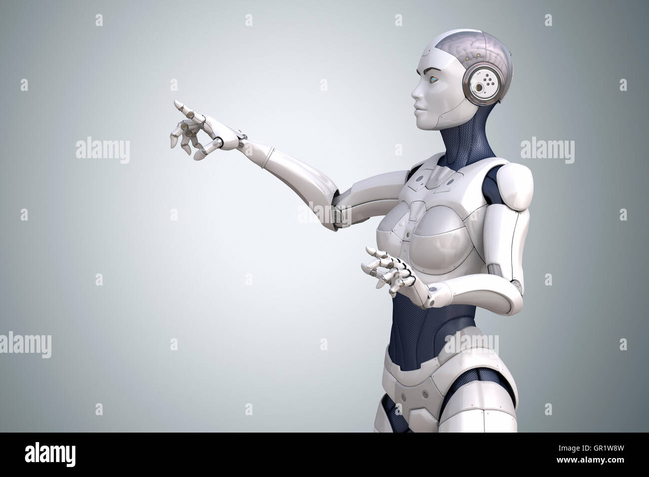 Robot points his finger up. Clipping path included - Stock Image