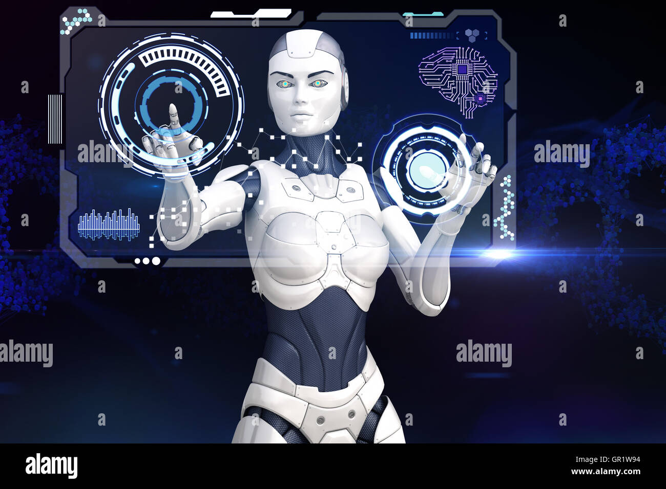 Cyber girl is working with screen of data - Stock Image
