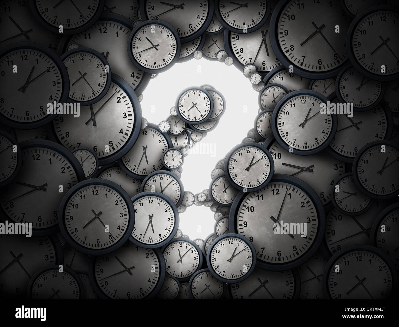 Concept of time question or business schedule questions symbol as a group of clocks shaped as a glowing icon for - Stock Image