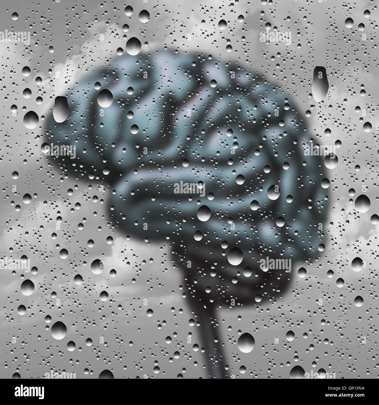 Brain disease concept and dementia or depression as a mental health and neurology medical symbol with a thinking - Stock Image