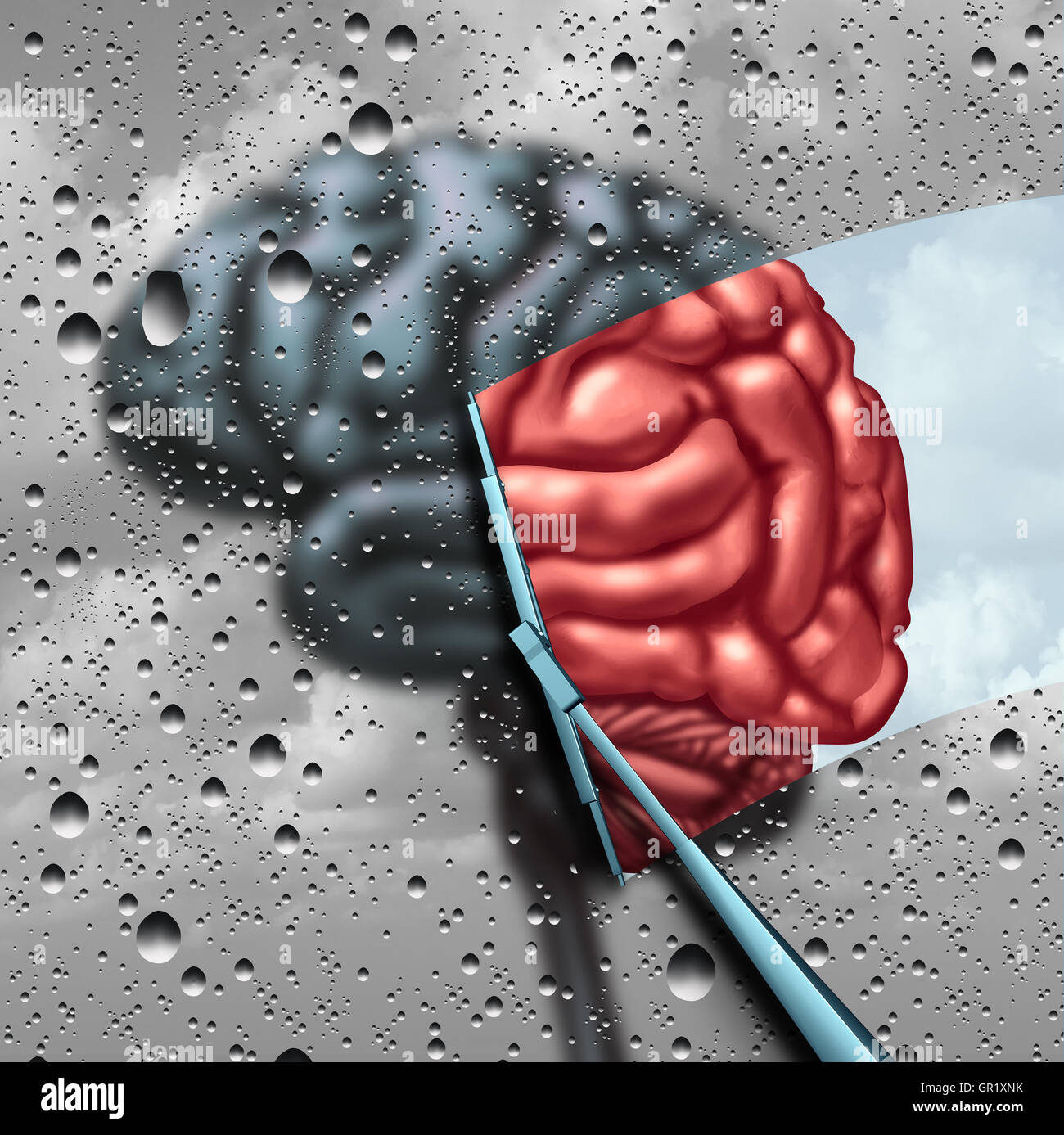 Dementia therapy and brain disease cure or mental health treatment concept as a blurry brain with drops on a window - Stock Image