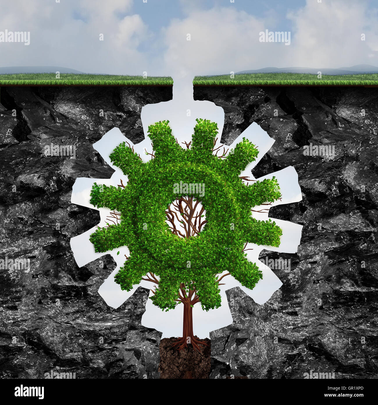 Custom business concept as a tree shaped as a gear or cog growing and adapting between two cliffs with a perfect - Stock Image