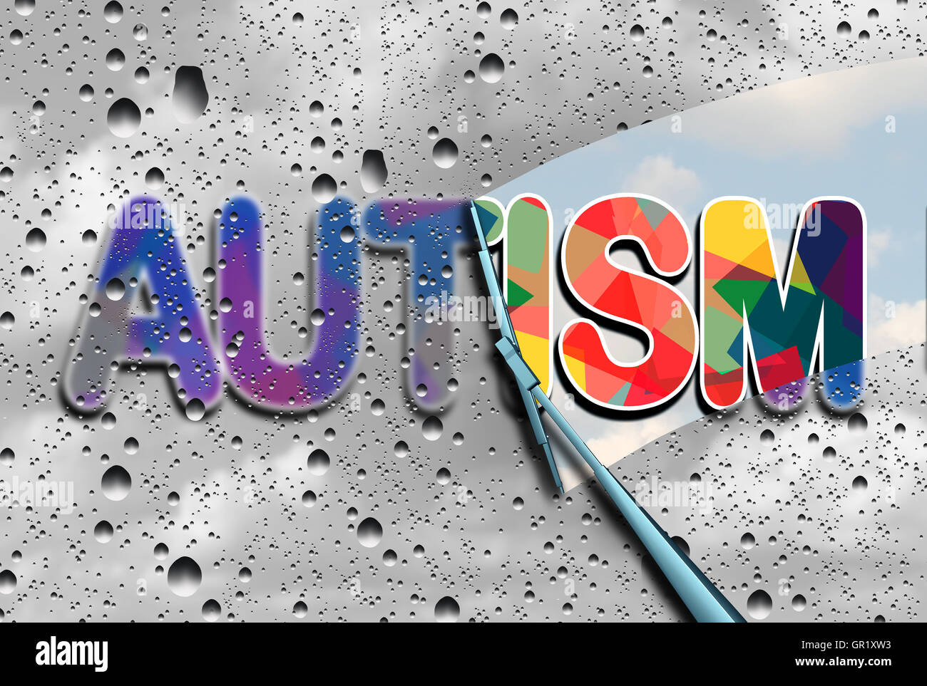 Autism awareness and autistic disorders concept as cloudy blurred text with a wiper clearing the confusion exposing - Stock Image