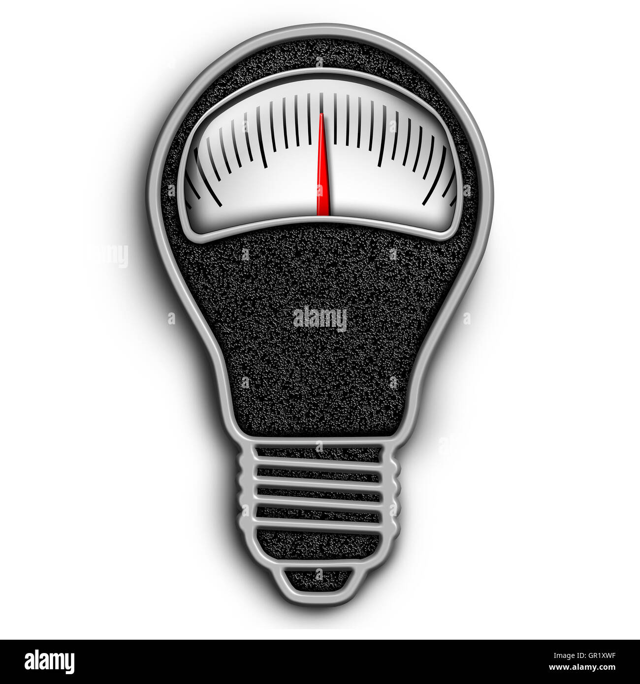 Weight loss idea and diet thinking concept and nutrition ideas symbol as a dieting scale shaped as a light bulb - Stock Image