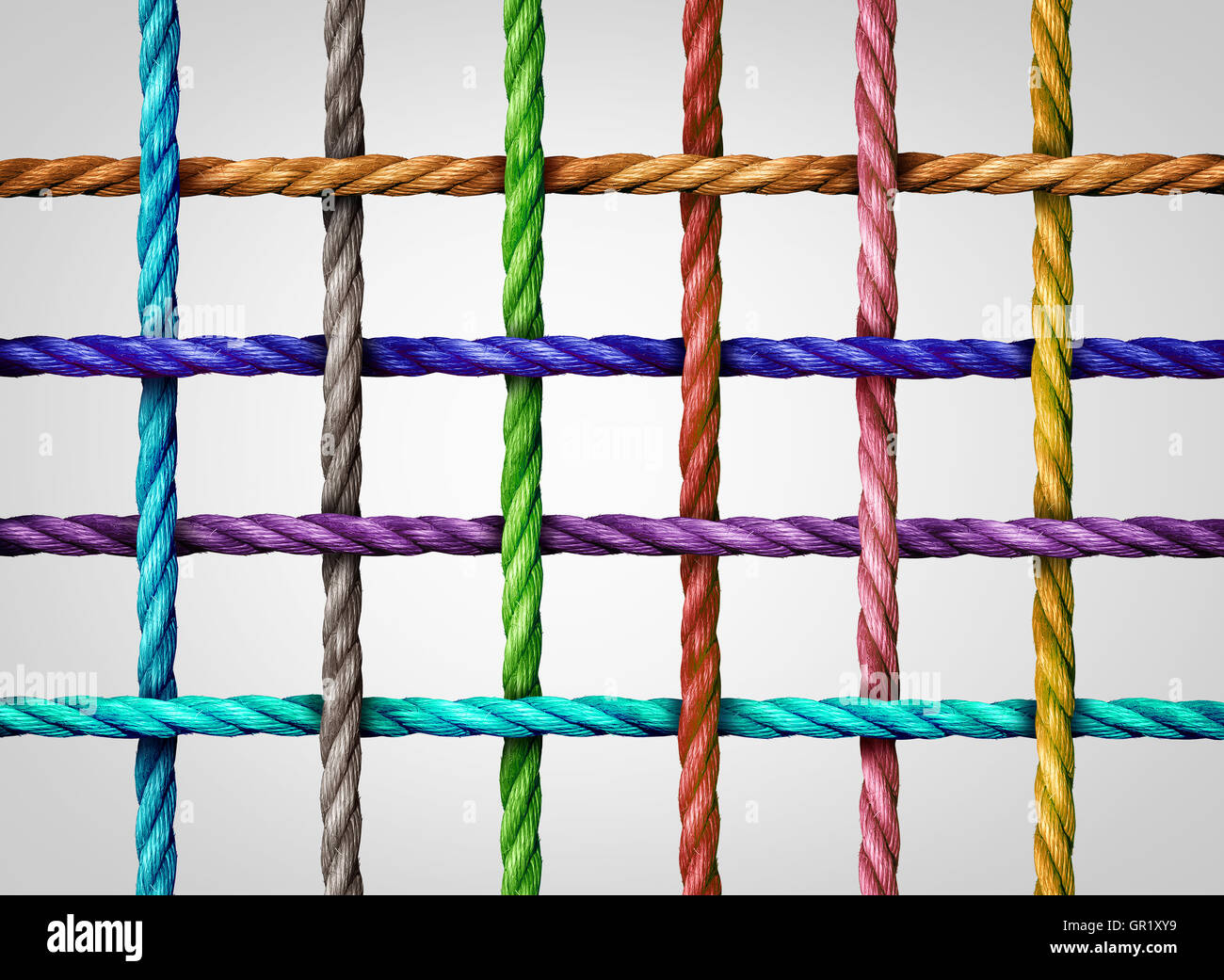 Connected grid network as a group of diverse ropes tied and linked in a square mesh as an abstract social media - Stock Image