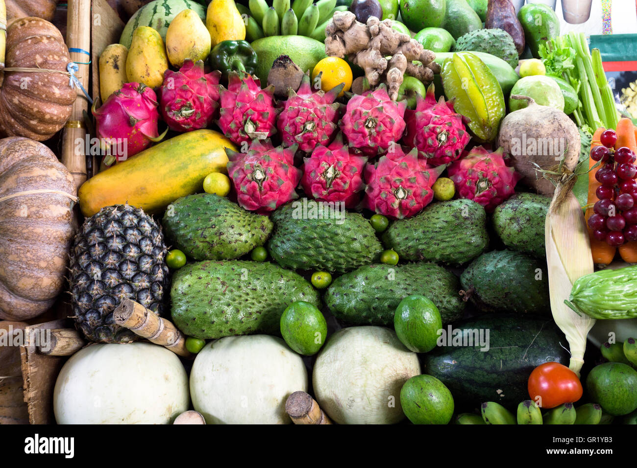 Variety of fruits at the local stall in Kota Kinabalu, Sabah Borneo, Malaysia. - Stock Image
