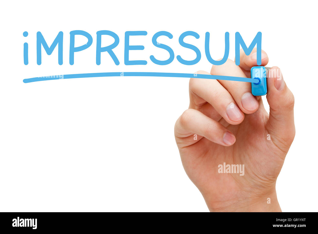 Hand writing Impressum with blue marker on transparent wipe board. - Stock Image