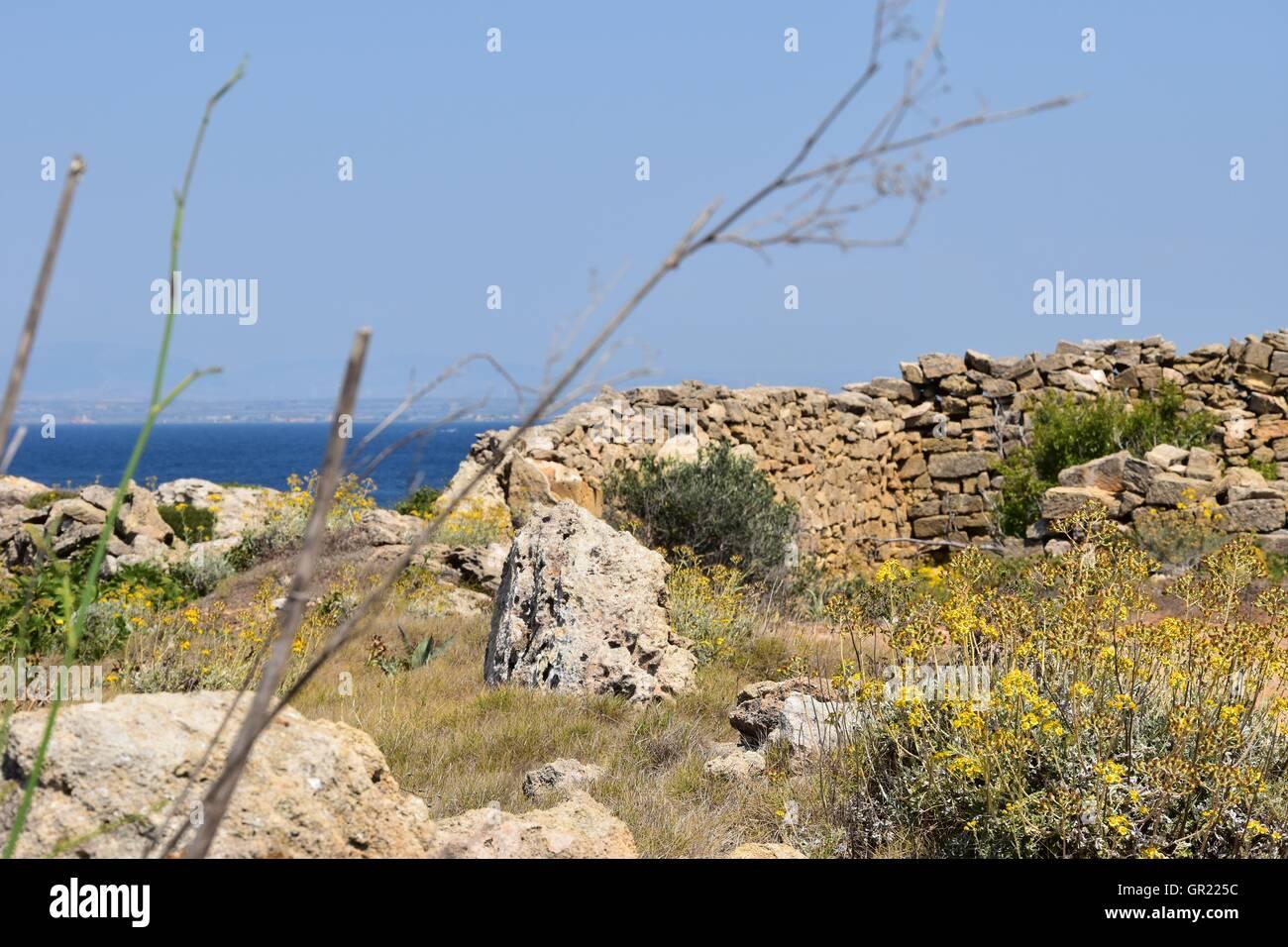 Rural desert landscape  near the sea Favignana, Sicily, Italy - Stock Image