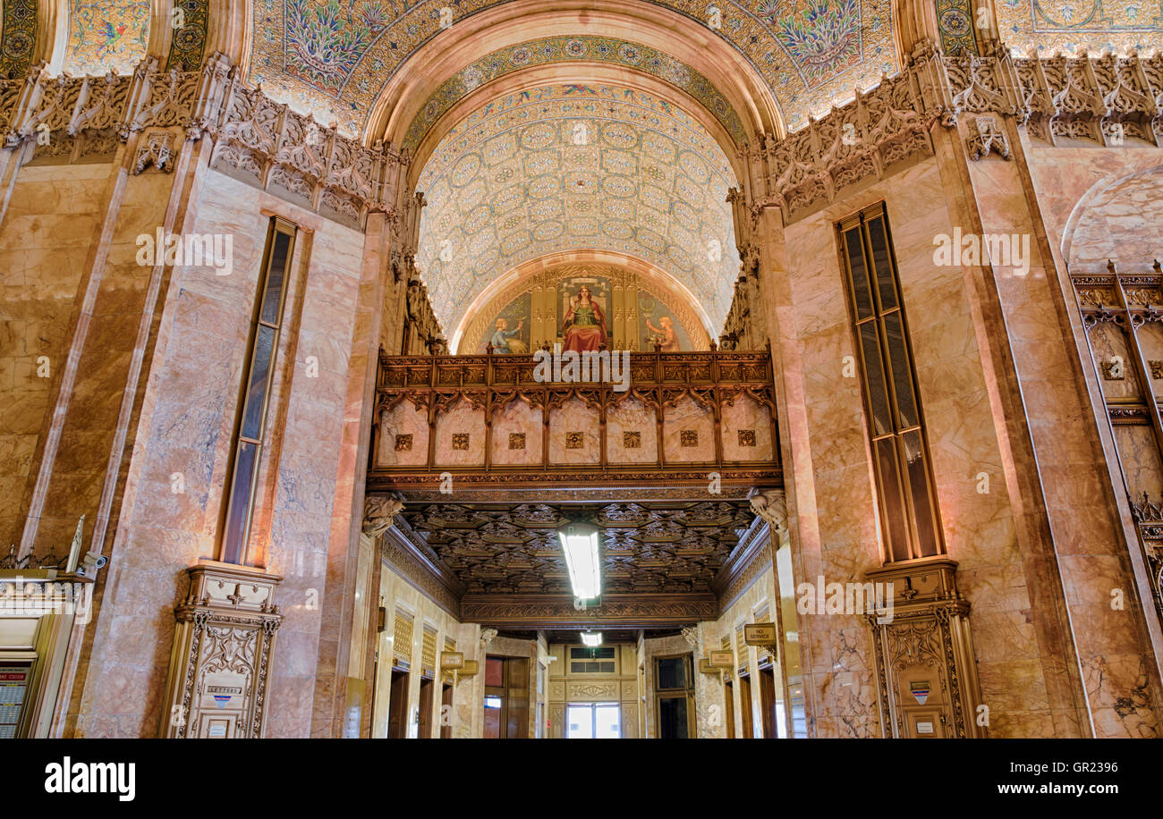 Interior Of Lobby In The Landmarked Woolworth Building Designed By Architect Cass Gilbert Gothic Revival Style