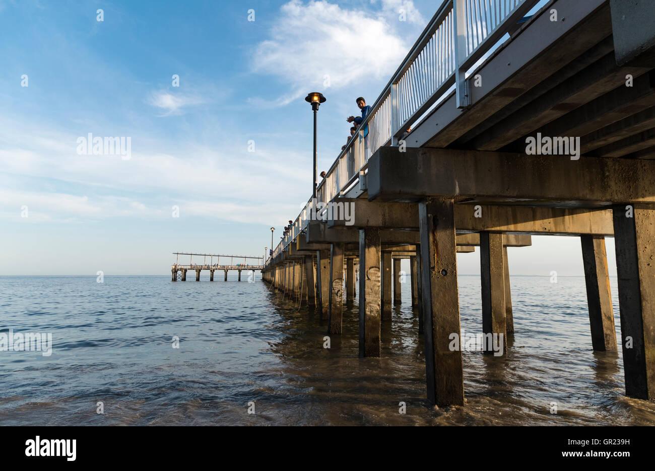 Steeplechase wooden pier on Coney Island beach and boardwalk, New York Stock Photo
