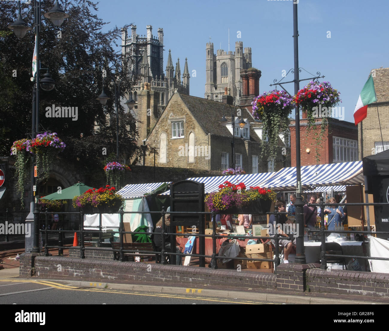 Market near Ely Cathedral - Stock Image