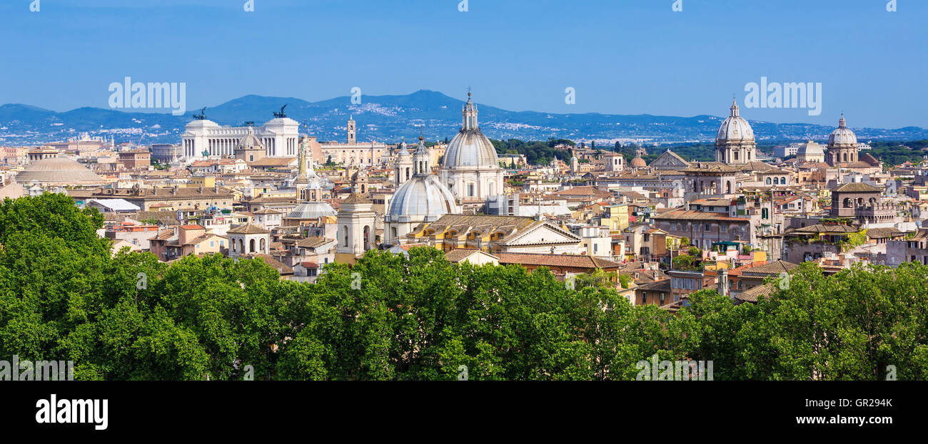 Panoramic view of Rome, Italy, Europe - Stock Image