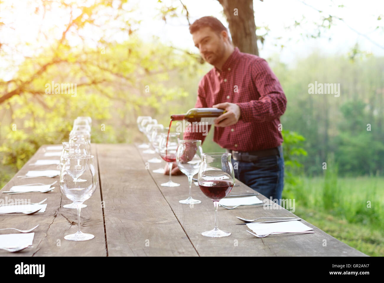portrait of wine producer pouring red wine into wine glasses - Stock Image