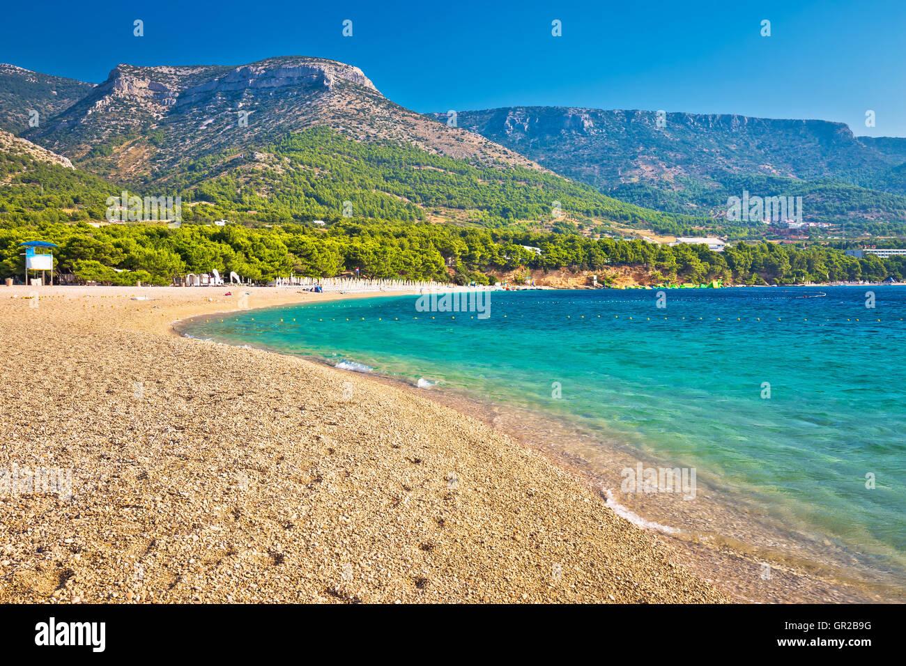 Zlatni Rat turquoise beach in Bol on Brac island, Dalmatia, Croatia - Stock Image