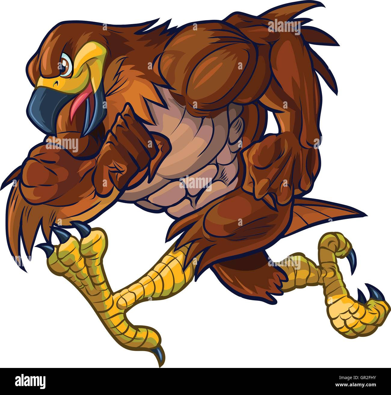 Vector cartoon clip art illustration side view of a tough muscular hawk, falcon, or eagle mascot running. - Stock Image