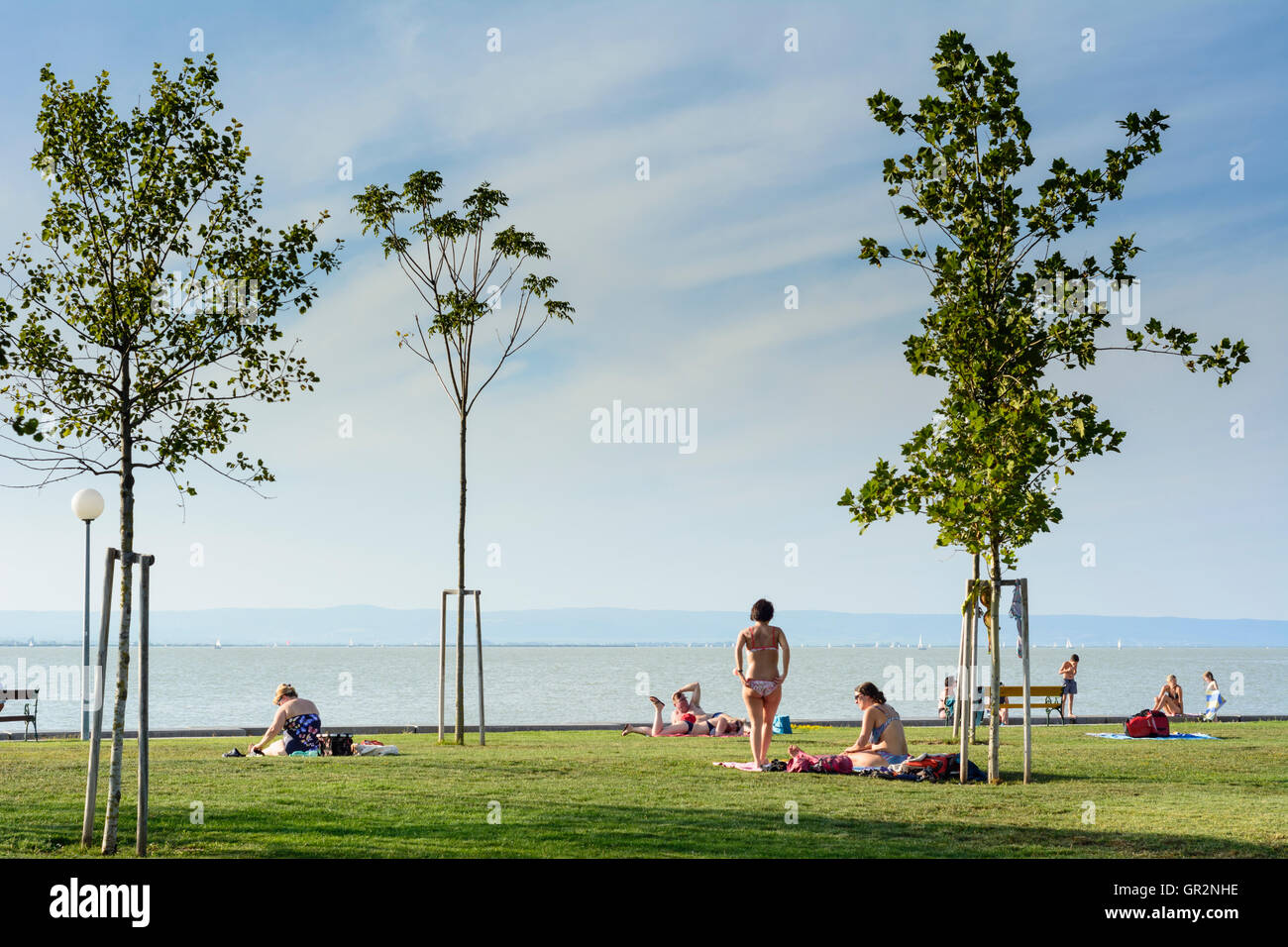 Illmitz: public bathing beach lido, Lake Neusiedl, Neusiedler See, sunbather, Austria, Burgenland, - Stock Image