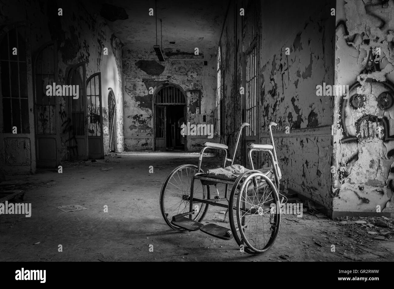 Volterra, Italy - September 2016: Abandoned psychiatric hospital in Volterra. It was home to more than 6,000 mental - Stock Image